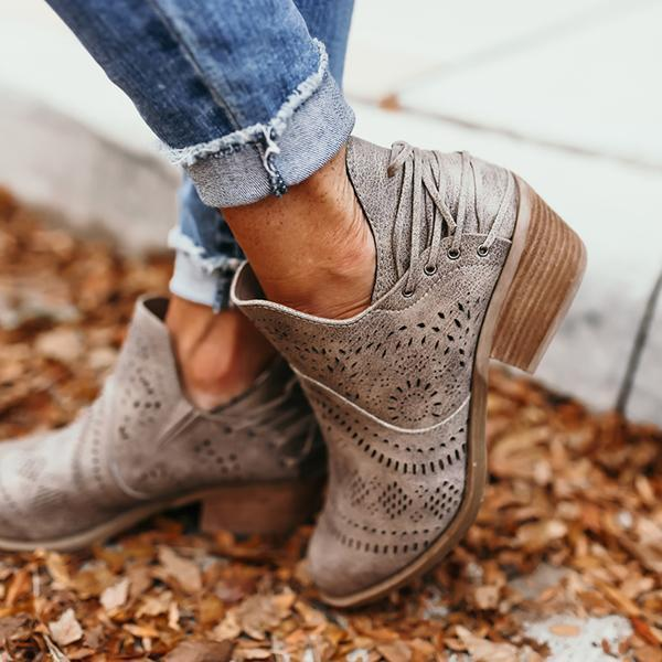 Women Laser Cutout Ankle Booties