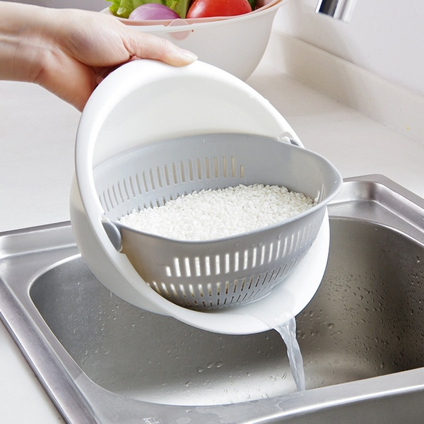 Portable Detachable Double-layer Rice Washer Strainer Hollow Fruits Vegetable Cleaning Drain Basket Container Basket Kitchen Tools