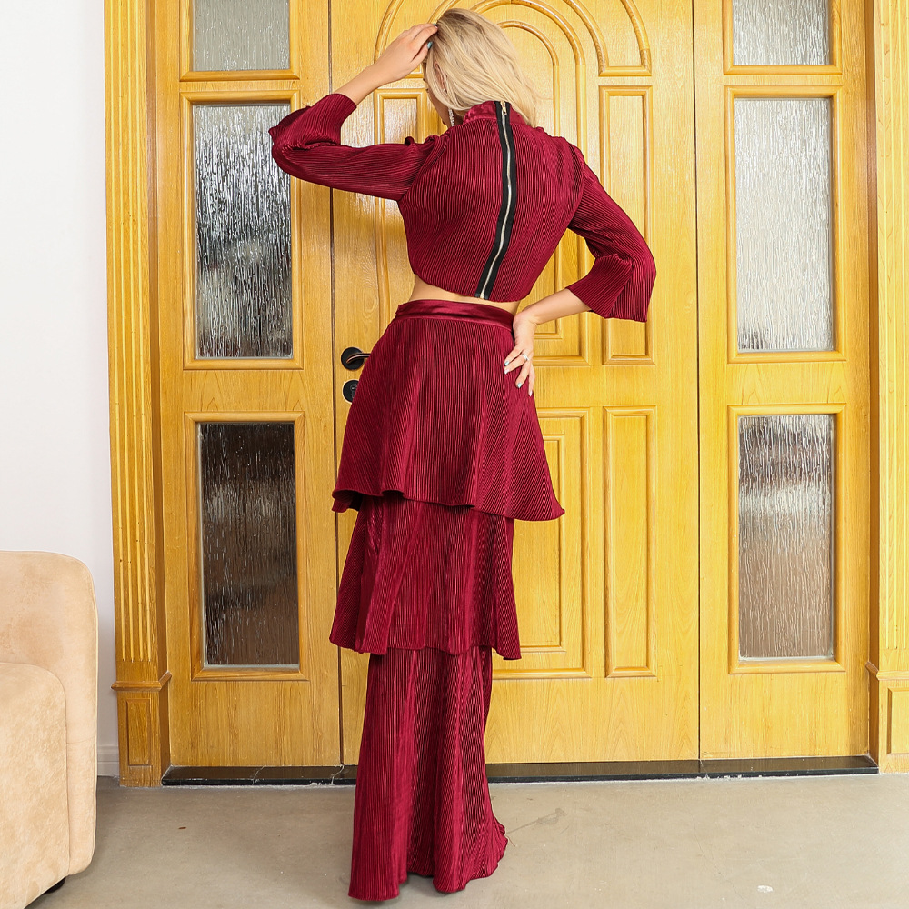 High neck, long sleeves, ruffles, ball gown, elegant two-piece