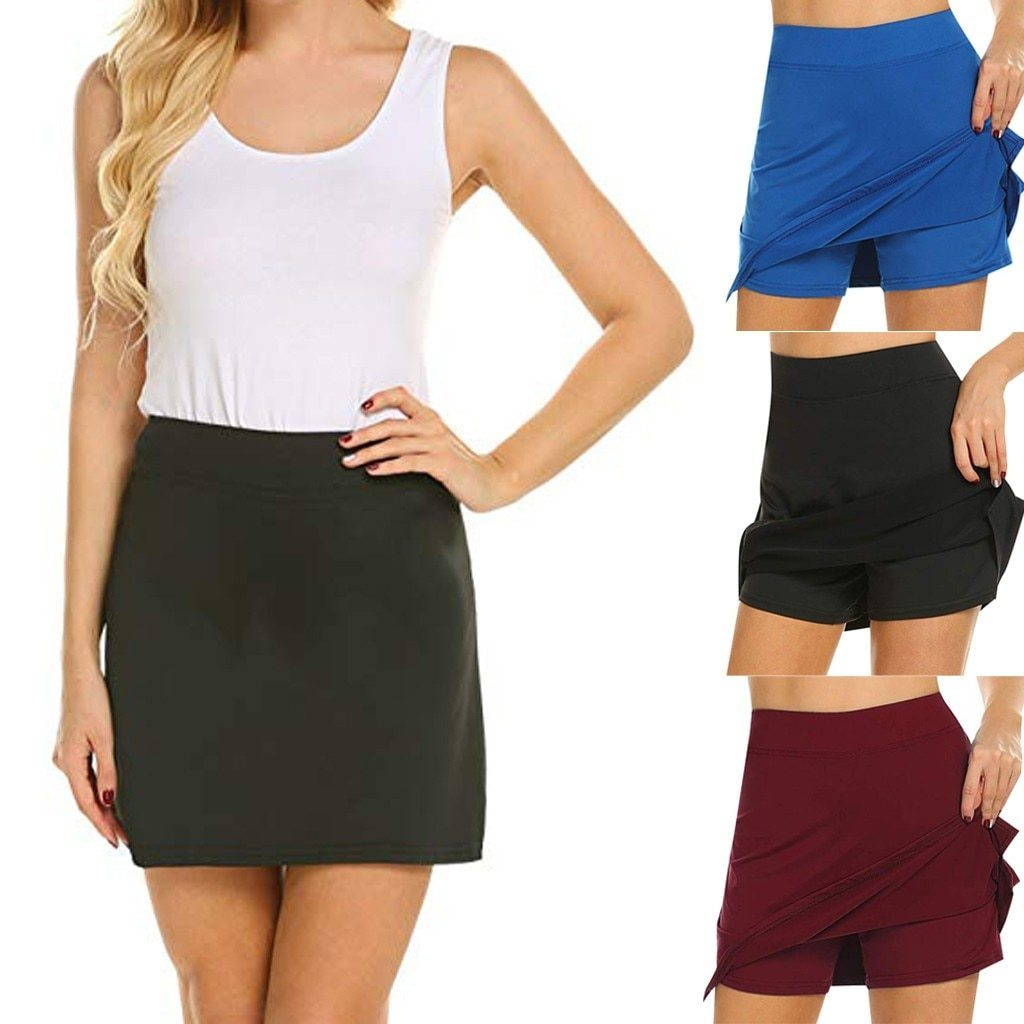 Arosetop  Anti-Chafing Active Elastic Skort With Hidden Pockets