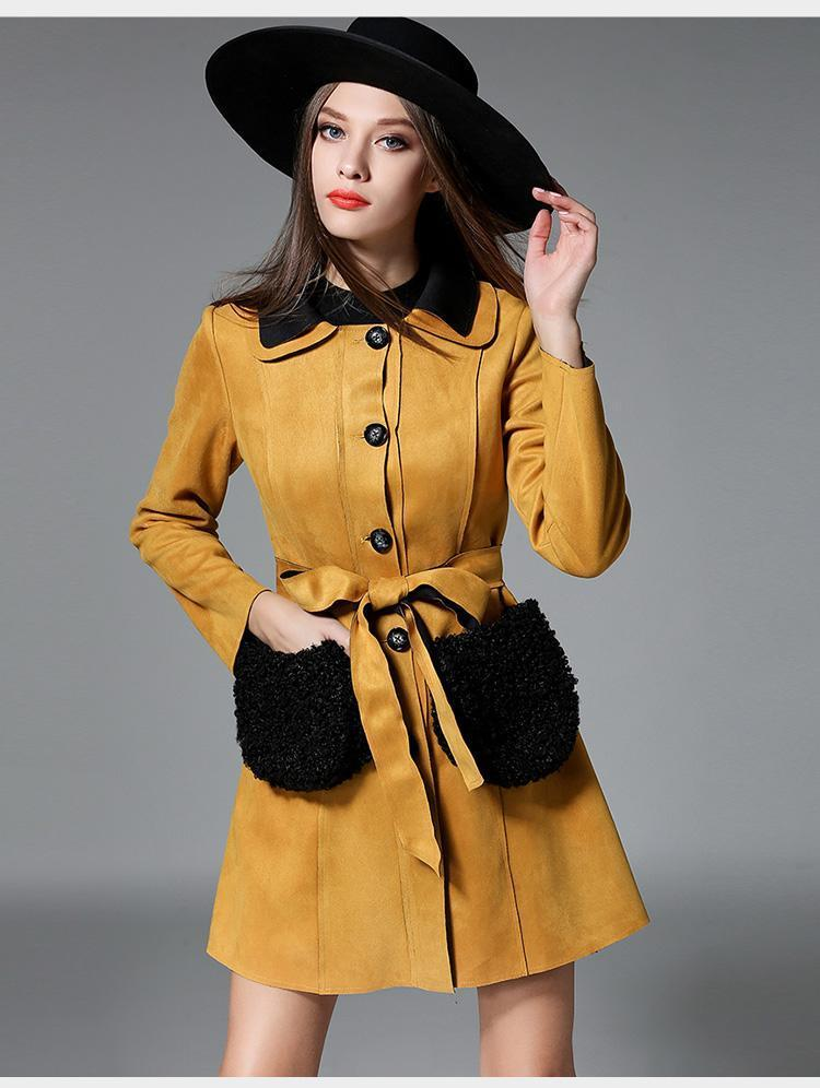 Winter fur warm pocket coat
