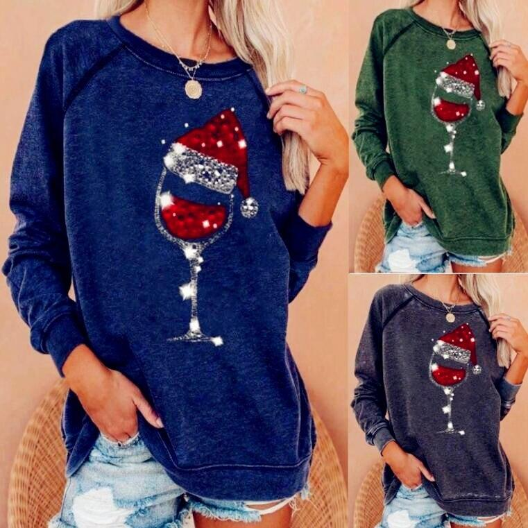 Women's Chritmas wine glass hat print pullover crewneck sweatshirts casual loose long sleeve tops