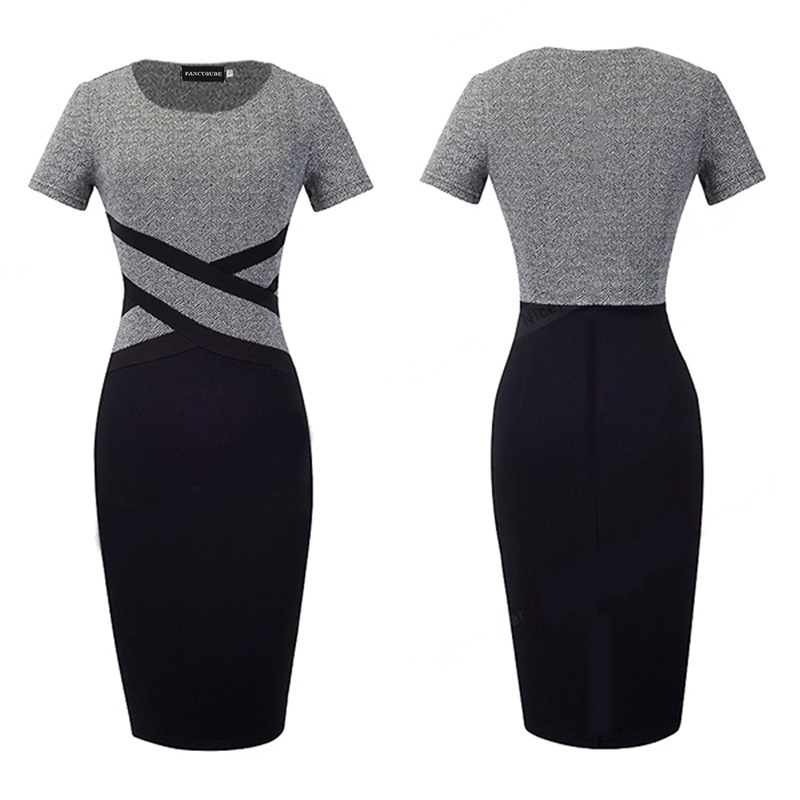 New Women Fashion Office Lady Classic Patchwork Dress O-Neck Elegant Slim Business Casual Pencil Midi Dress