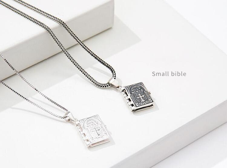2020 Turnable Bible Book Necklace