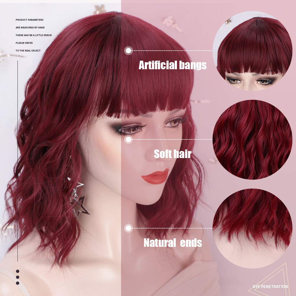 Luna Wine Red Women Bob Curly Wigs with Bangs Natural Looking Heat Resistant Fiber Hair for Women