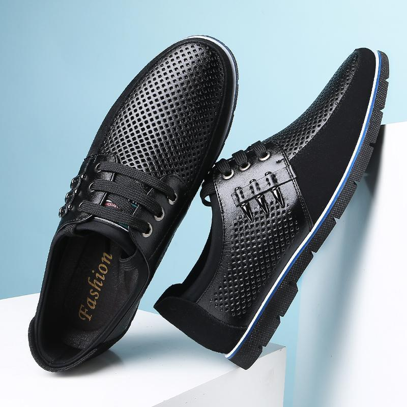 Men Summer Casual Breathable Genuine Leather Shoes