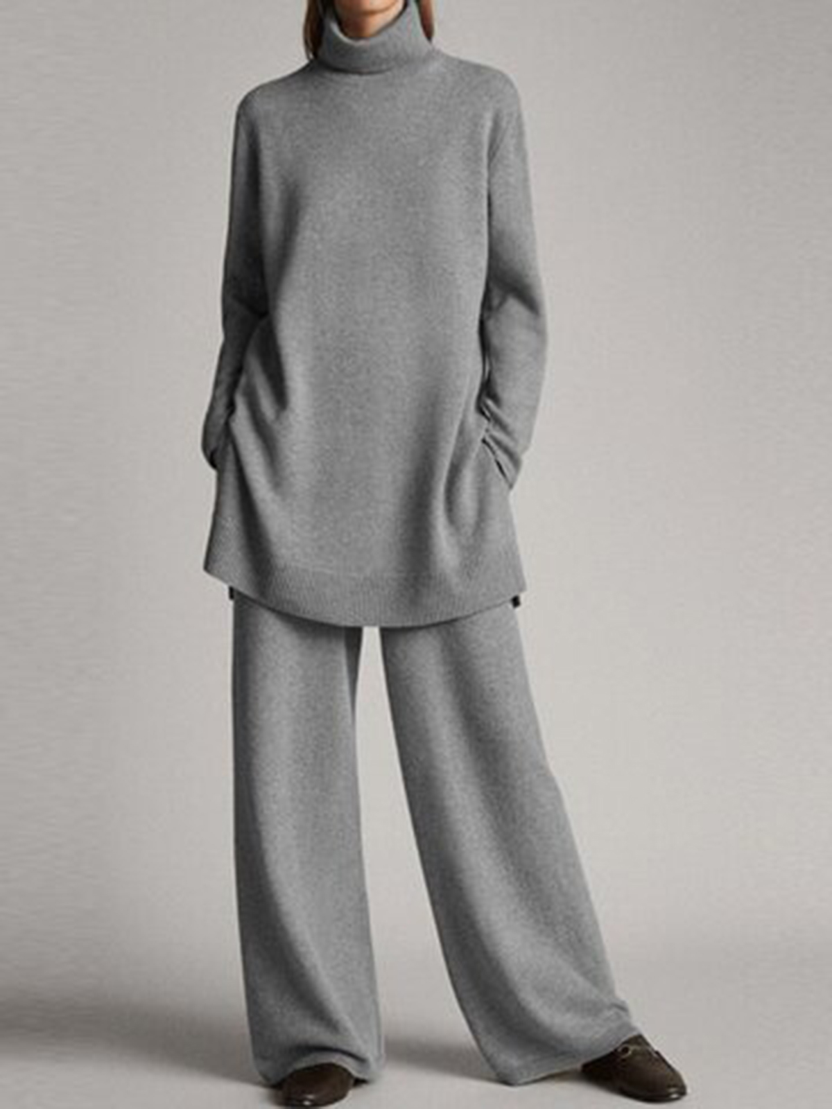 Fashionable Simple Casual Loose Turtleneck Top Pants Knitted Suit