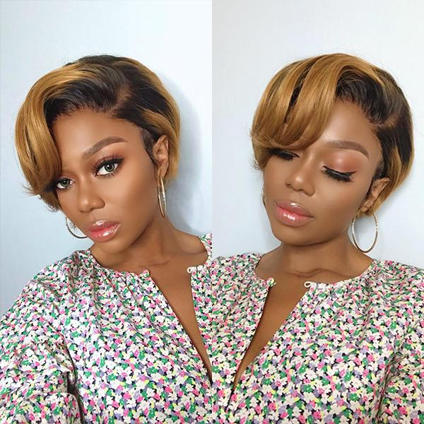 BODY WAVE SHORT CUT FRONTAL LACE WIG