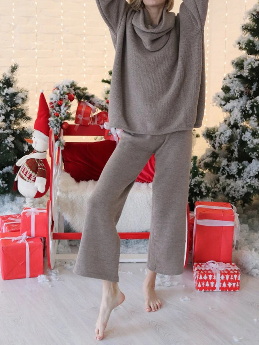 Fashion Simple Long Sleeve Turtleneck Top Pants Knitted Suit