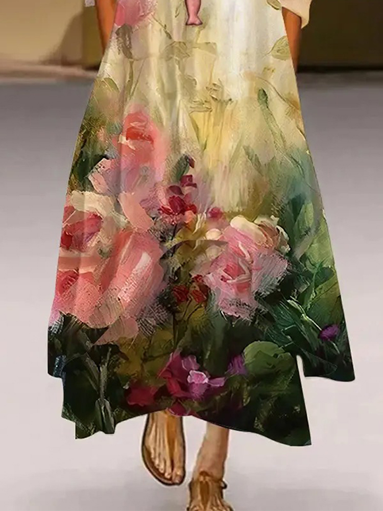 Floral Painting Crew Neck Casual Long Dress