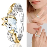 Cute Owl Crystal Ring