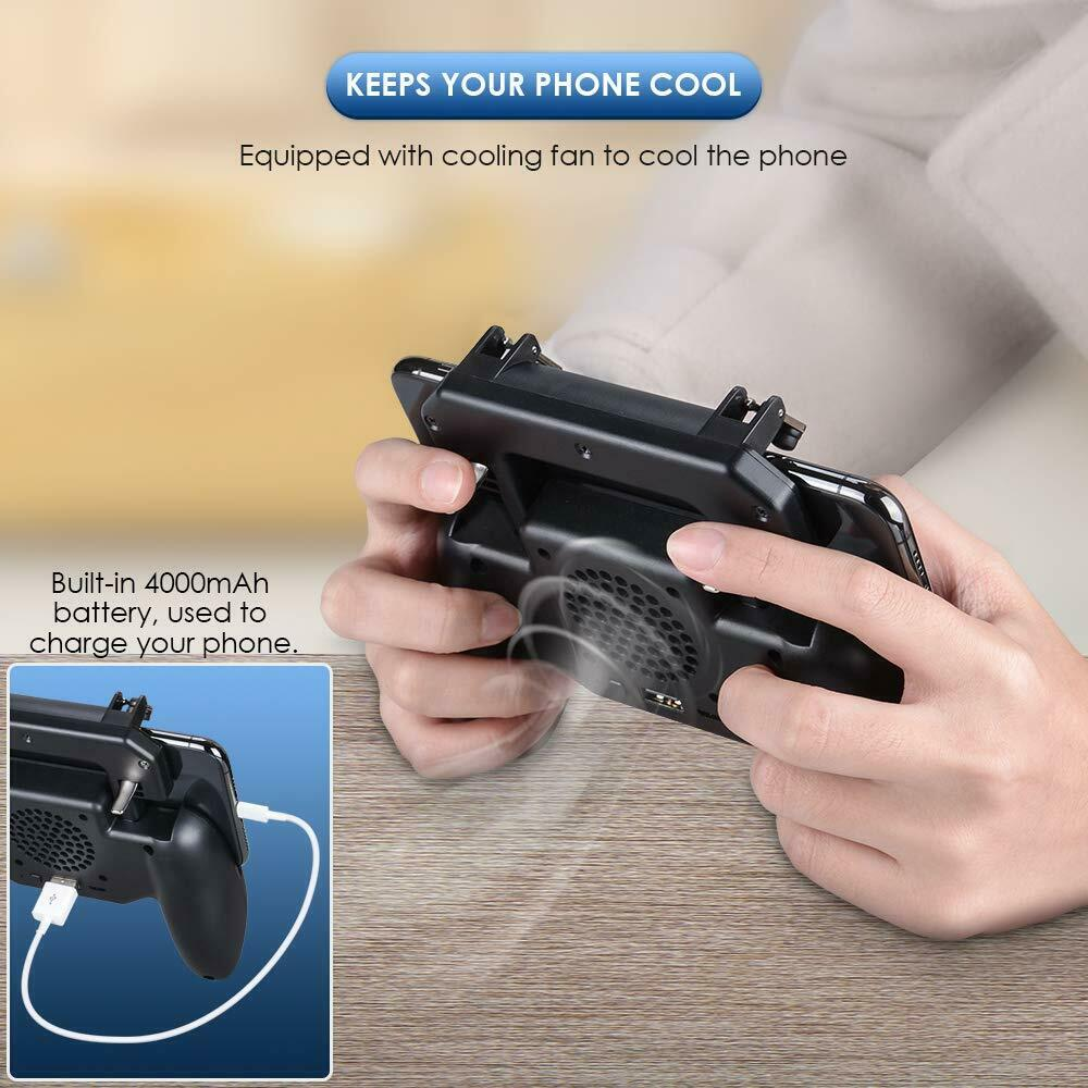 Game Controler Gamepad for Mobile with Cooling Fan & 2000/4000mAH Battery