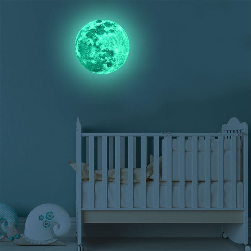 5/12/20cm 3D Large Moon Fluorescent Wall Sticker Removable Glow In The Dark Sticker Original
