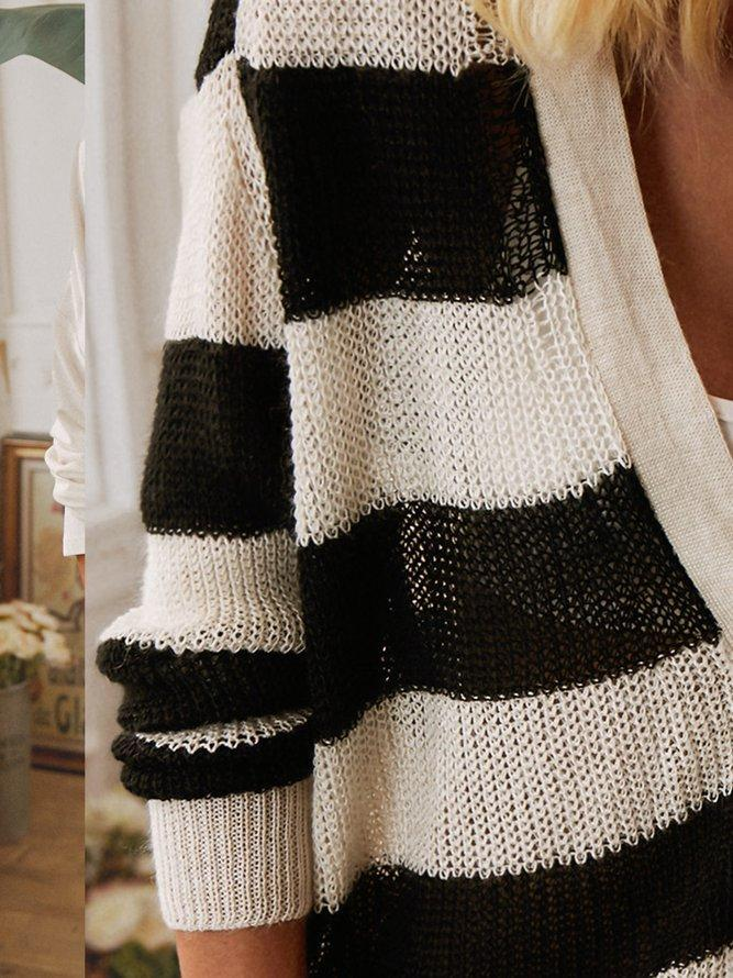 Plus size Striped Casual V Neck Sweater Outerwear