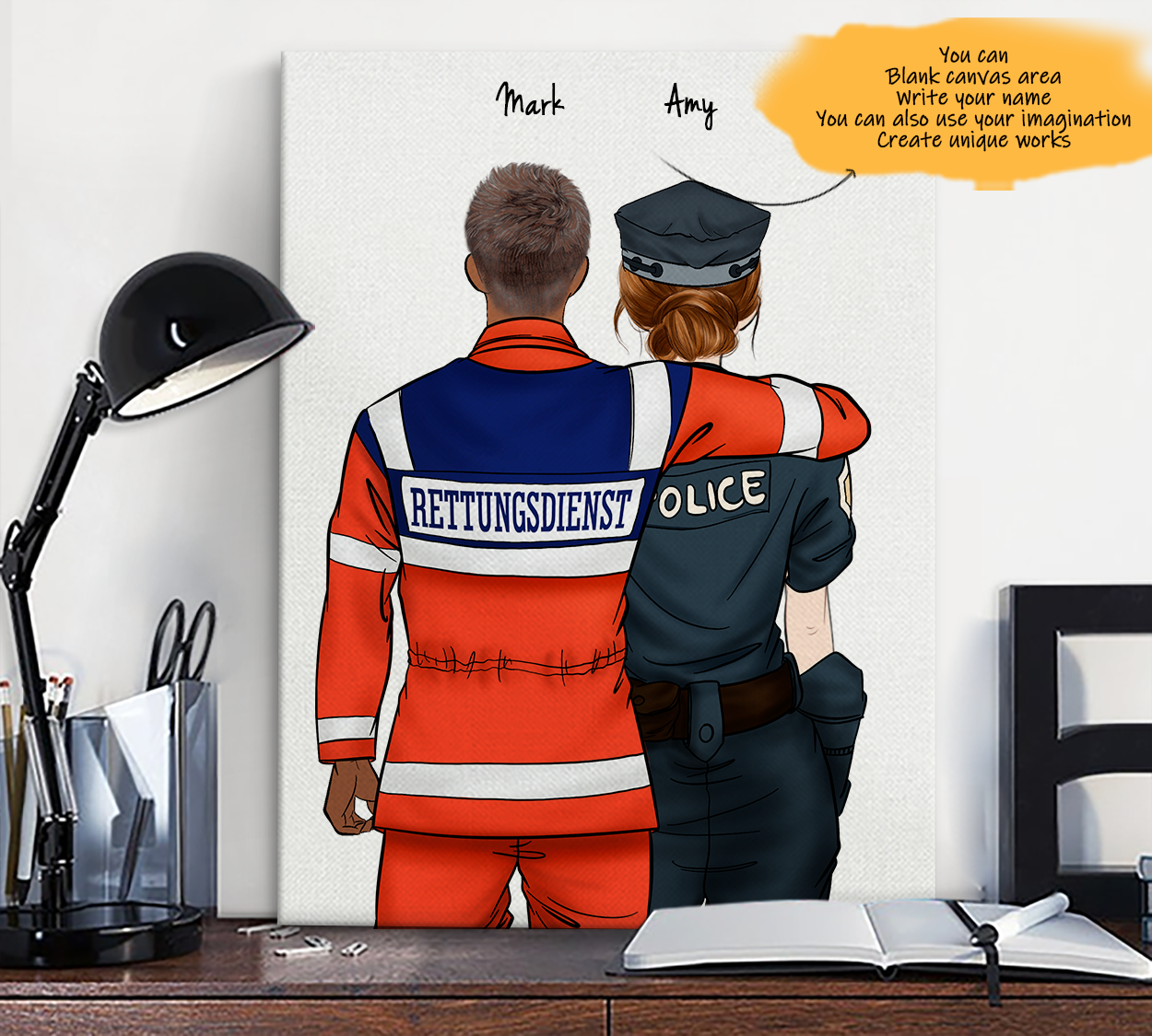 He is My Friend! Hand Draw Custom Canvas-Print Gift AmbulanceDriverGermany-Dark&Police1