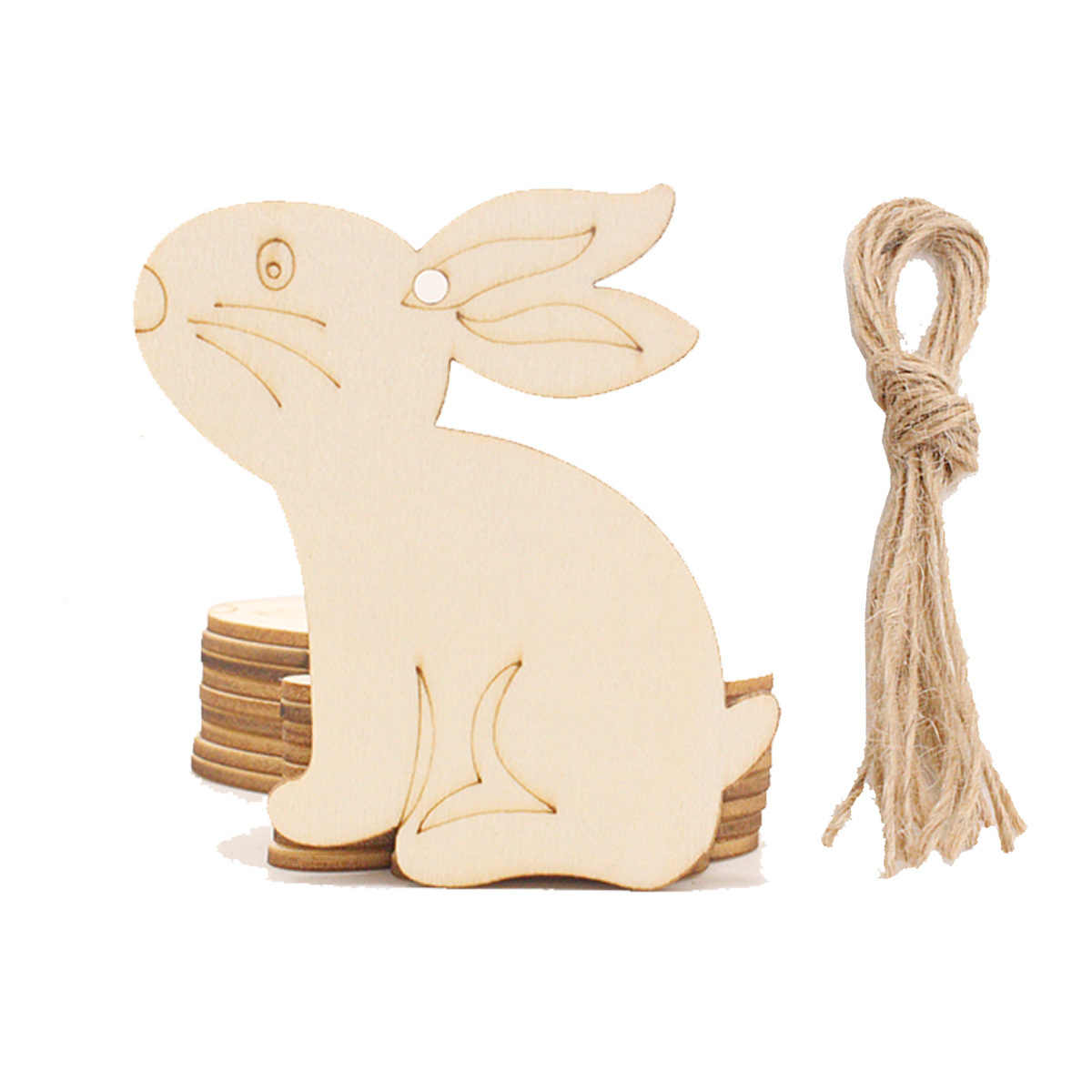 10pcs Easter Wooden Chicken Ornament Unfinished Hanging Craft Easter Wood Discs With Rope For Diy Painting Craft