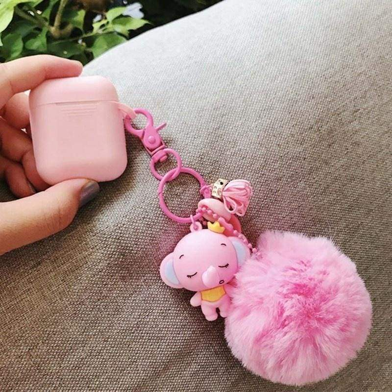 Cute Little Elephant Bear Skull  Fruit Design 3D Soft Silicone Protective Case Cover For Apple Airpods Charging Airpods Not Included).