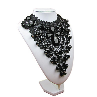 Women's Onyx Crystal Choker Necklace Pendant Necklace Chain Necklace Bib Tower Ladies Gothic Synthetic Gemstones Resin Black Necklace Jewelry 1pc For Party Cosplay Costumes