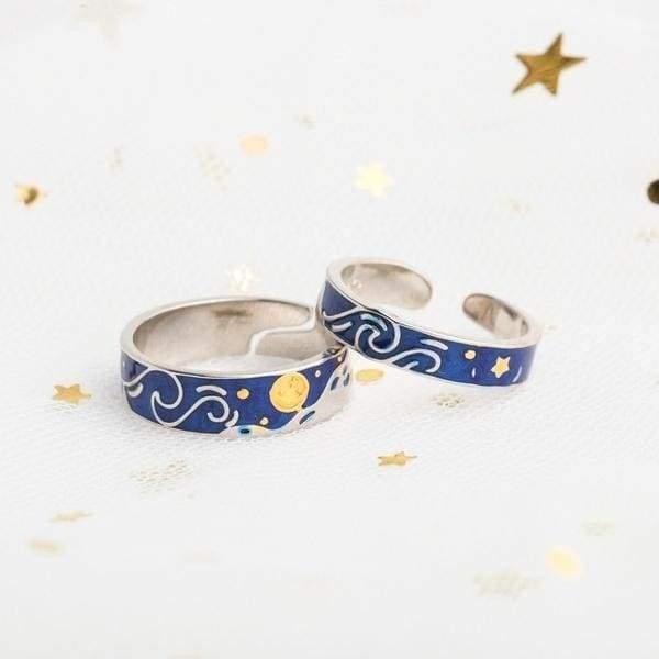 S925 Sterling Silver Rings Van Gogh Starry Sky Couple Ring Stylish and Elegant Aquamarine Jewelry Accessories