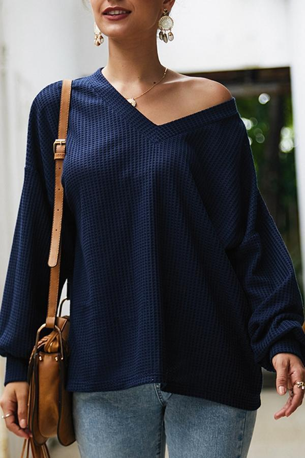 Solid V Neck Long Sleeve Knitted Top