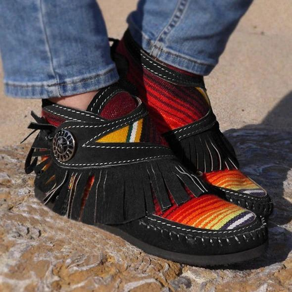 Cowgirl Leather Moccasins Flat Heel Tassel Boots