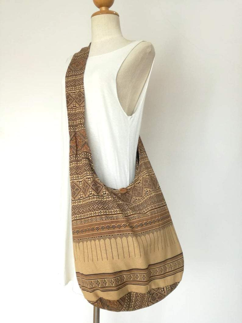 Tan Hobo Bag Bohemian Ethnic Bag Cotton Shoulder Bag Crossbody Bag Boho Bag Sling Bag Hippie Bag Messenger Bag Hmong Zipper Purse        Update your settings