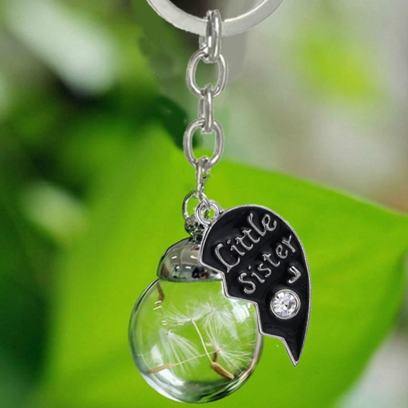 New Focus Sisters Necklace / Keychain Jewelry Big Sister Little Sister Dandelion Inside Glass Bottle Jewelry Gift