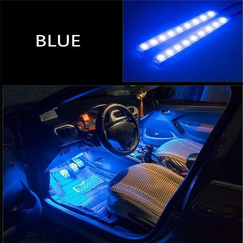 Car Accessory 12V 2 x 9LED Interior Decorative Atmosphere Light Lamp Charge LED Interior Floor Decoration Lights ( 5 Colors )