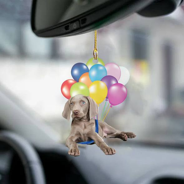weimaraner fly with bubbles dog hanging ornament