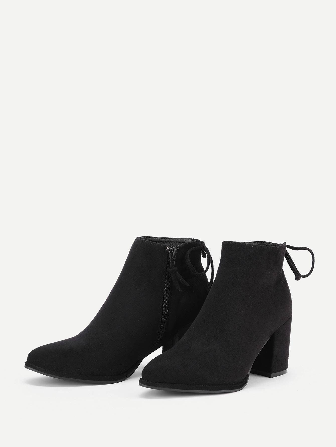 Lace Up Back Block Heeled Ankle Boots