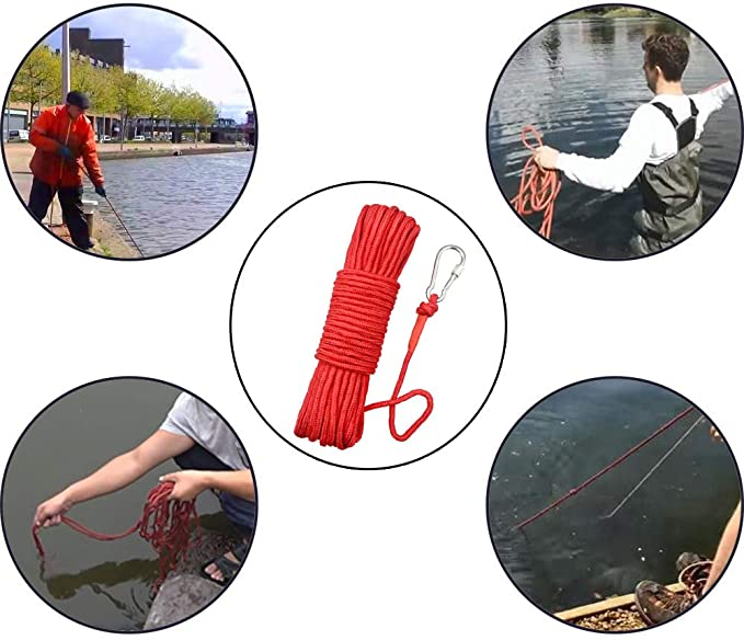 Magnet Fishing Nylon Rope with Carabiner, 32.5 Feet & 65 Feet All Purpose High Strength Cord Safety Braid Rope