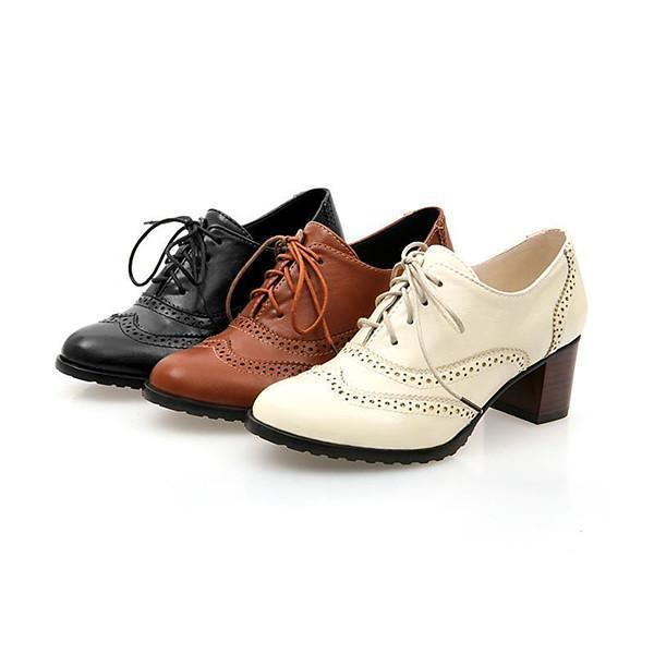Faddishshoes British Style Carved Classy Lace Up Oxford Shoes