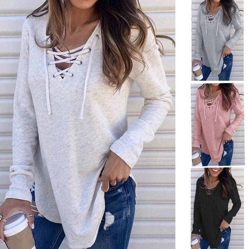 Women Solid V Neck Long Sleeve Lace Up Top