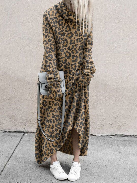 Casual Leopard Print High-Collar Long-Sleeved Long-Sleeved Dress
