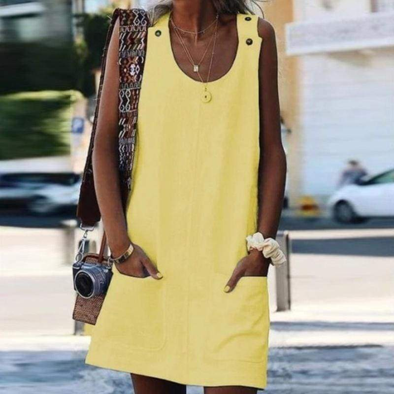Women's Fashion Solid Color Loose Casual Sleeveless Dress Summer Pocket Sundress Plus Size S-5XL