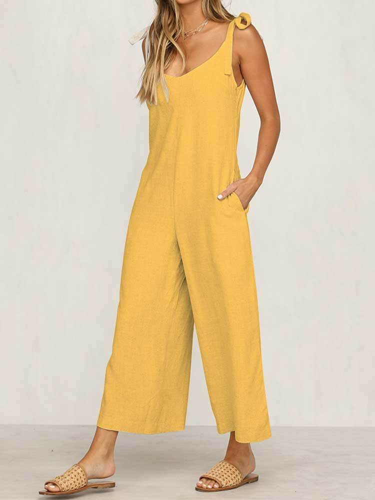 Casual Tie Backless Loose Jumpsuit