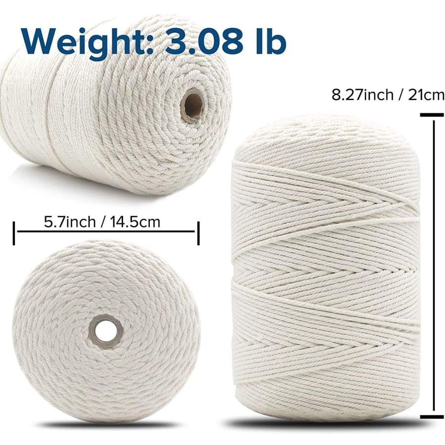 Macrame Cord 3mm ¡Á 547Yards | 100% Natural Cotton Macrame Rope | 4 Strand Twisted Soft Cotton Cord for Handmade Wall Hanging, Plant Hangers, Crafts, Knitting, Craft Cord (3mm x 547yd)