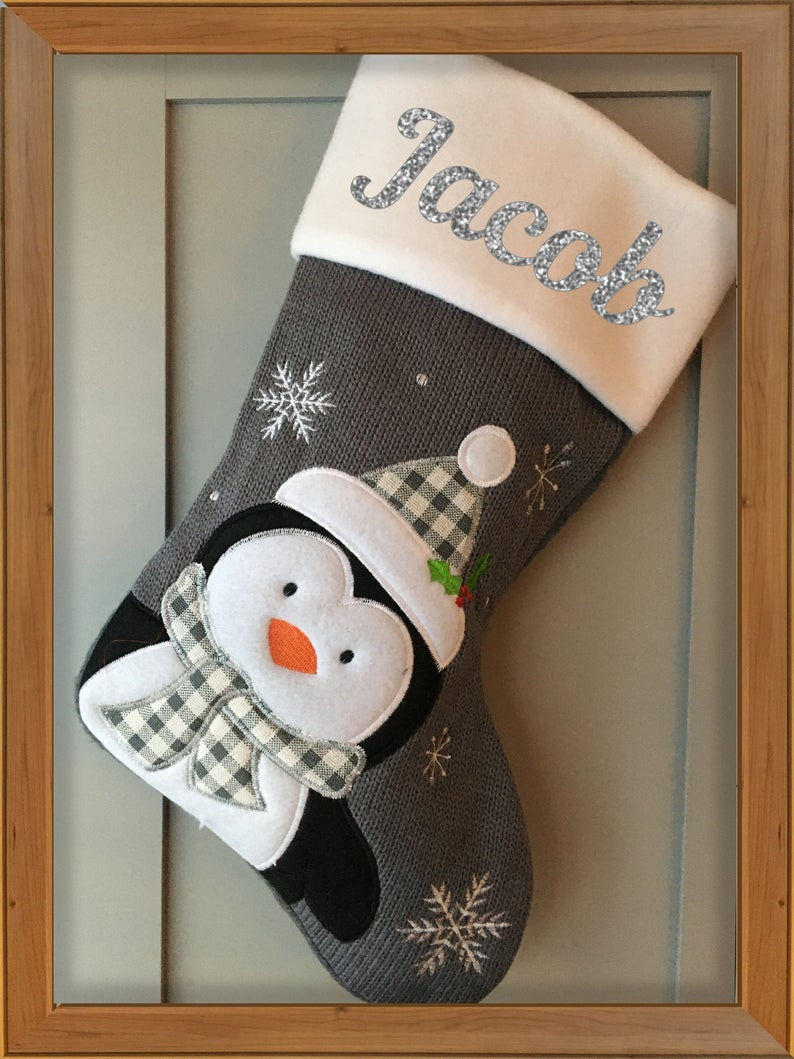 Personalised Grey Knitted Christmas Stocking Add Your Name - Santa - Snowman - Rudolph - Reindeer - Penguin