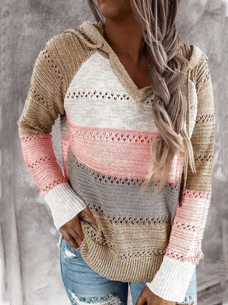 Women's knitted color striped hooded sweater V neck fall pullover sweater