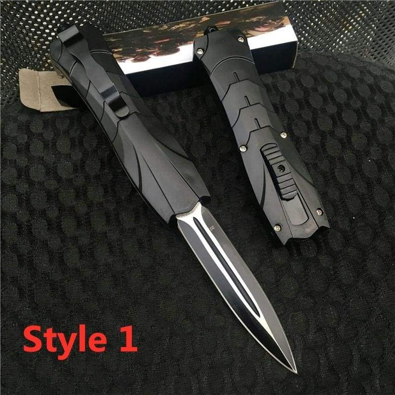 9 Inch Outdoor Tactical Pocket Spring-Assisted Quick Jump Knife AUTO Opens And Closes Sharp Survival Hunting Double - Edged Grooved Dagger EDC Multifunctional Stiletto Knives Folding Blade D2 Steel