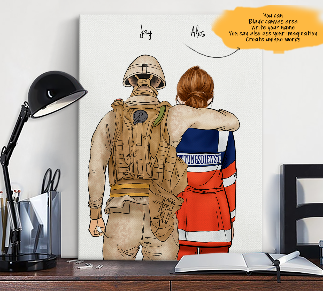 He is My Friend! Hand Draw Custom Canvas-Print Gift Soldier-Light&AmbulanceDriverGermany