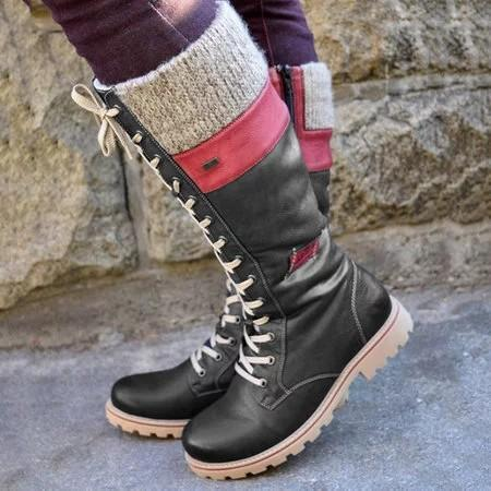 Women Casual Winter Lining Cotton Keep Warm Calf Leather Boots