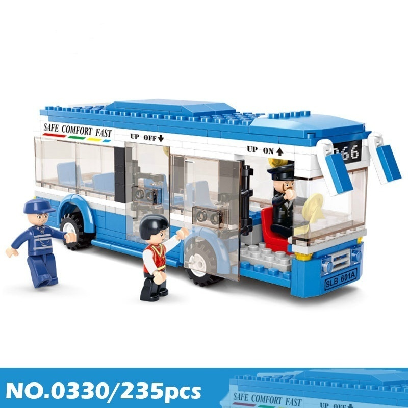 New City Town Bus Station School Bus Star Tour Bus Building Blocks Model Classic Car Toys for Children Bus Blocks