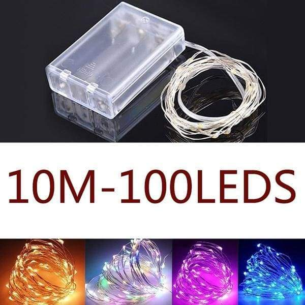 1/3/5/10M 10/30/50/100LEDS  Battery Powered LED String Lights for Xmas Christmas Tree Garland Outdoor Party Wedding Decoration 10 Colors