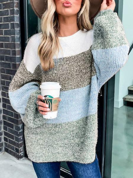 Plus Size Long Sleeve Striped Casual Sweater
