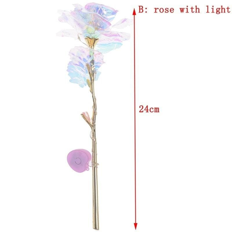 Valentine's Day Lighting Rose 24K Foil Plated Gold Rose Forever Love Wedding Decor 27 * 10 * 7 cm