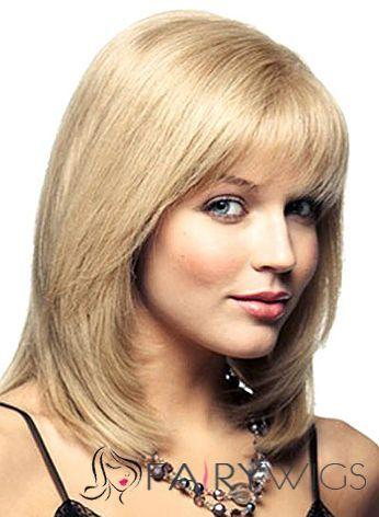 2020 Fashion Ombre Blonde Wigs Bleach Blonde Bob With Bangs
