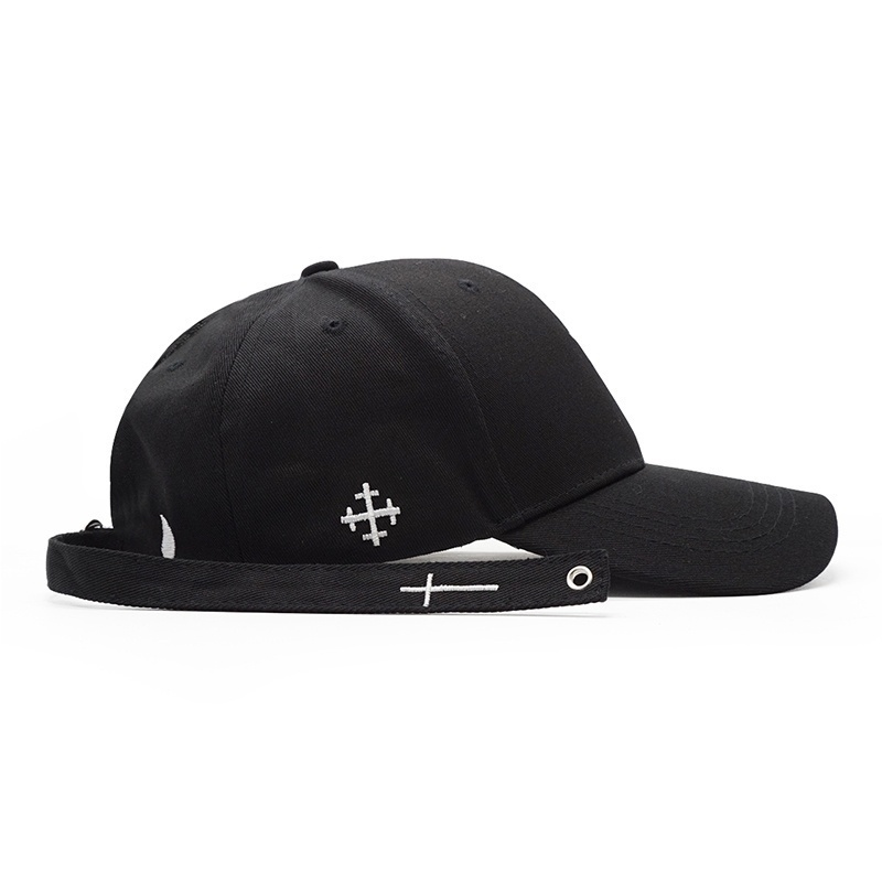 Cross Belt Baseball Cap White Black Embroidery Letters Snapback Hat Casquette Casual Cotton Bone Peaked Caps