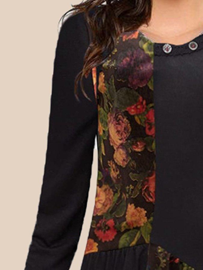 Black Long Sleeve Crew Neck Floral Paneled Dresses