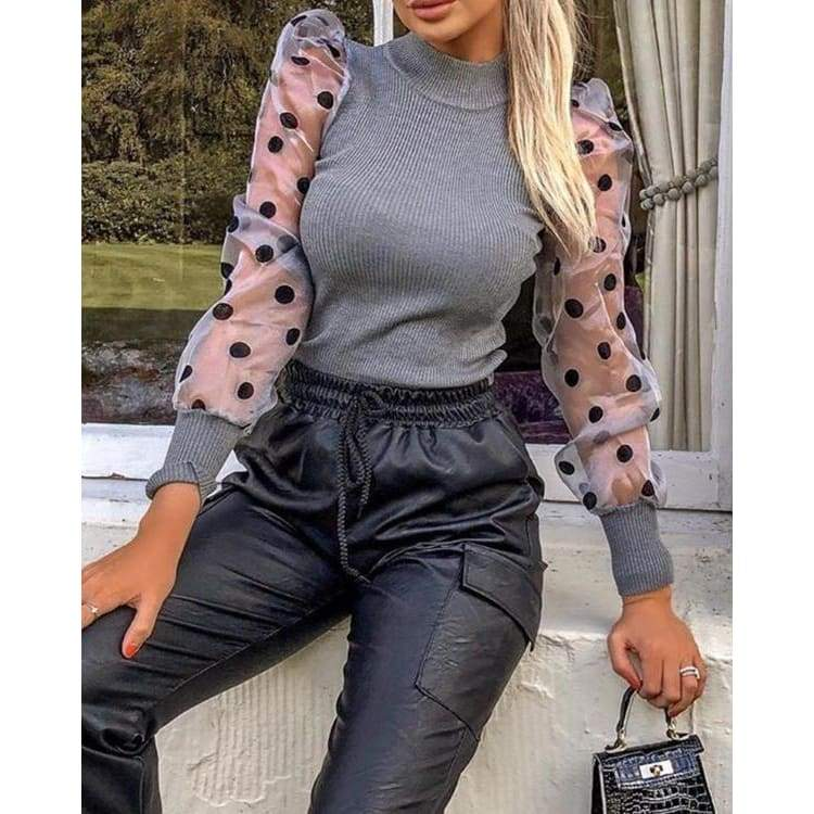 Womens Casual Solid Color O-neck Blouse Lace Mesh Patchwork Polka Dot Printed Tops Pullovers Turtleneck Slim Shirts